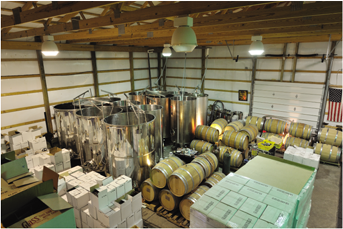 Though a pole barn, the winery has state of the art equipment for superior winemaking.  Aging?  Traditional oak barrels provide depth and complexity that today's oak adjunct products simply lack.